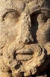 Oude standbeelden op de bovenkant van Nemrut-berg, Turkije stock foto