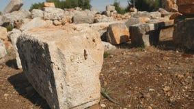 Oude steen met gravure in Lyrboton stock videobeelden