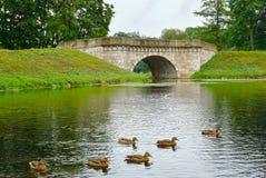 Oude steenbrug in Gatchina, stad dichtbij Heilige Petersburg Royalty-vrije Stock Afbeelding