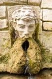 Oude steenfontein Fontein met hoofd van de mens stock foto's