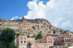 Oude steenhuizen in het centrum van Mardin stock afbeelding