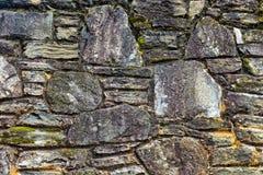 Oude steenmuur met mos Royalty-vrije Stock Afbeeldingen