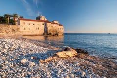 Oude steenstad door het overzees Stock Foto