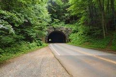 Oude Steentunnel op het Blauwe Randbrede rijweg met mooi aangelegd landschap dichtbij Aheville, het Noorden Stock Afbeeldingen