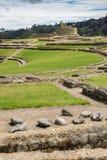 Oude stenen bij de ruïnes van Ingapirca, Ecuador Royalty-vrije Stock Foto