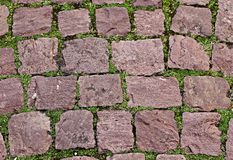 Oude stenen op groen gras royalty-vrije stock foto's