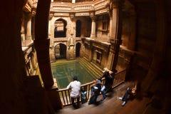 Oude stepwell Adalaj Ki Vav Royalty-vrije Stock Foto