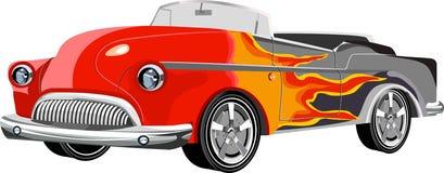 Oude stijl uitstekende die auto met vlam wordt geschilderd stock illustratie