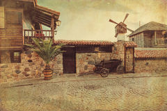 Oude straat in de oude stad van Sozopol, Bulgarije Stock Foto