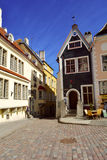 Oude Straat dichtbij Stadhuis in Tallinn, Estland stock afbeelding