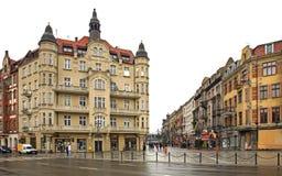 Oude straat in Katowice polen Royalty-vrije Stock Afbeeldingen