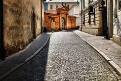 Oude straat in Krakau, Polen. Stock Foto's