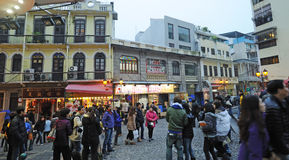 Oude straat in Macao Royalty-vrije Stock Fotografie