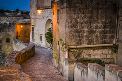 oude straat in Matera royalty-vrije stock fotografie