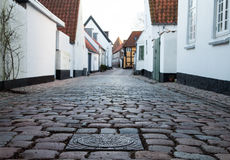 Oude Straat in Ribe, Denemarken Royalty-vrije Stock Foto's