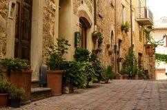 Oude straat van Pienza, Toscanië, Italië Royalty-vrije Stock Fotografie