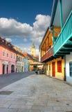 Oude straat in Zagreb royalty-vrije stock fotografie