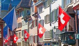 Oude straat in Zürich Stock Afbeelding