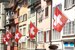 Oude straat in Zürich Stock Fotografie