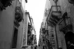 Oude straat stock foto's