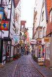 Oude straten in de stad van Bremen, Duitsland Stock Afbeeldingen