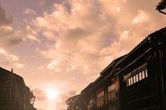 Oude straten van Kanaza-stad in Japan royalty-vrije stock afbeelding