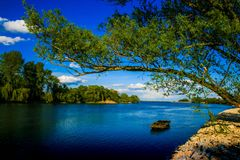 Oude stroom van rivier Drava stock foto