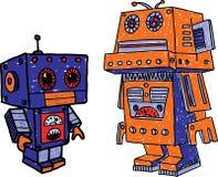 Oude stuk speelgoed robots Stock Afbeeldingen