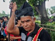 Oude Sumbanese-Mens tijdens het Pasola-Festival Stock Fotografie