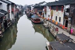 Oude suzhou van watersteden -stad-shantang Stock Afbeelding