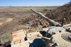 Oude tank in Golan Heights stock foto's