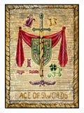 Oude tarotkaarten Volledig dek Ace van zwaarden stock illustratie