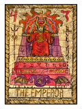 Oude tarotkaarten Volledig dek De Keizer stock illustratie