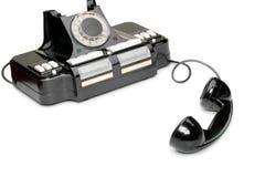 Oude telefoon, van de haak Stock Foto