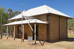 Oude Telegraafpost, Alice Springs, Australië Stock Foto's