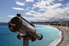 Oude telescoop die Nice kijkt Stock Afbeeldingen