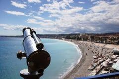 Oude telescoop die Nice overziet Royalty-vrije Stock Foto
