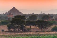 Oude tempel achter de mist in Bagan na zonsondergang, Myanmar Stock Fotografie