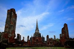Oude tempel in AYUTTHAYA-toerist in Thailand stock afbeelding