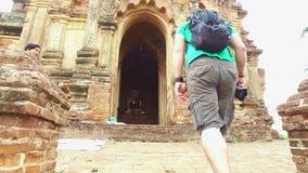 Oude tempel in Bagan stock videobeelden