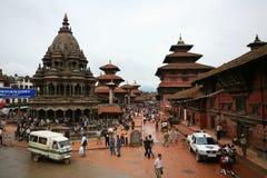 Oude tempel, Bhaktapur, Nepal Stock Foto