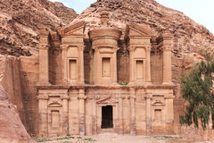 Oude tempel in Petra, in Jordanië Royalty-vrije Stock Foto's
