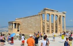 Oude Tempel van Athena, Akropolis in Athene, Griekenland op 16 Juni, 2017 Stock Foto's