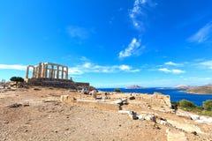 Oude tempel van Poseidon stock foto