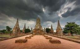 Oude Tempel, Wat Chaiwatthanaram Temple van Ayuthaya-Provincie, Tha Royalty-vrije Stock Afbeelding