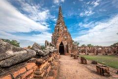 Oude Tempel wat Chaiwatthanaram van Ayuthaya-Provincie (het Historische Park van Ayutthaya) Azië Thailand Royalty-vrije Stock Fotografie