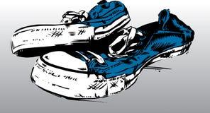 Oude Tennisschoenen/Trainers royalty-vrije illustratie