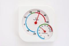 Oude thermometer en hygrometer. Stock Afbeeldingen