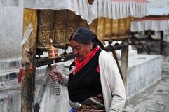 Oude Tibetaanse Dame stock afbeelding