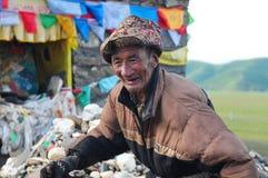 Oude Tibetaanse mens Stock Afbeelding